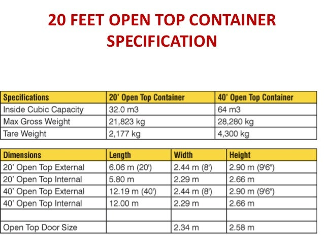 Image Gallery Open Top Container Dimensions