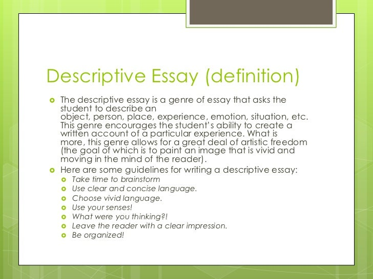 write descriptive essay object