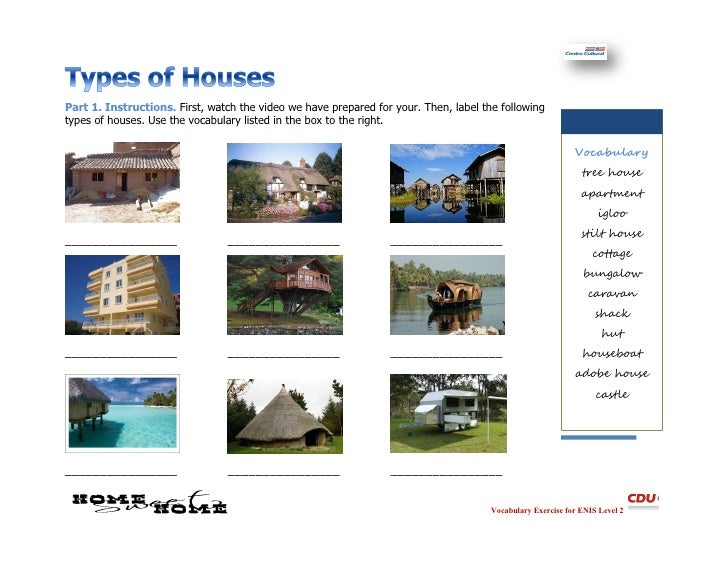 Types of homes worksheet for Names of different house styles