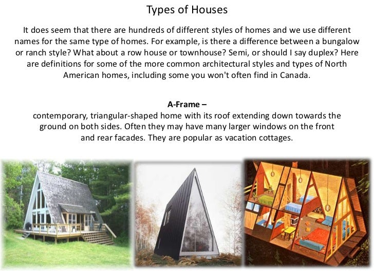 Types of Houses<br />It does seem that there are hundreds of different styles of homes and we use different names for the ...