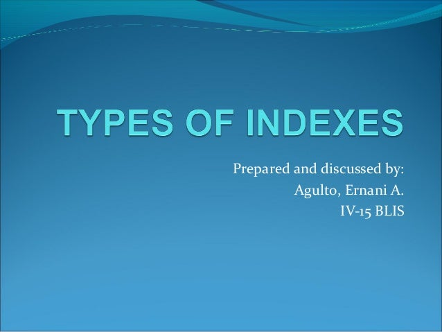 Types of indexes