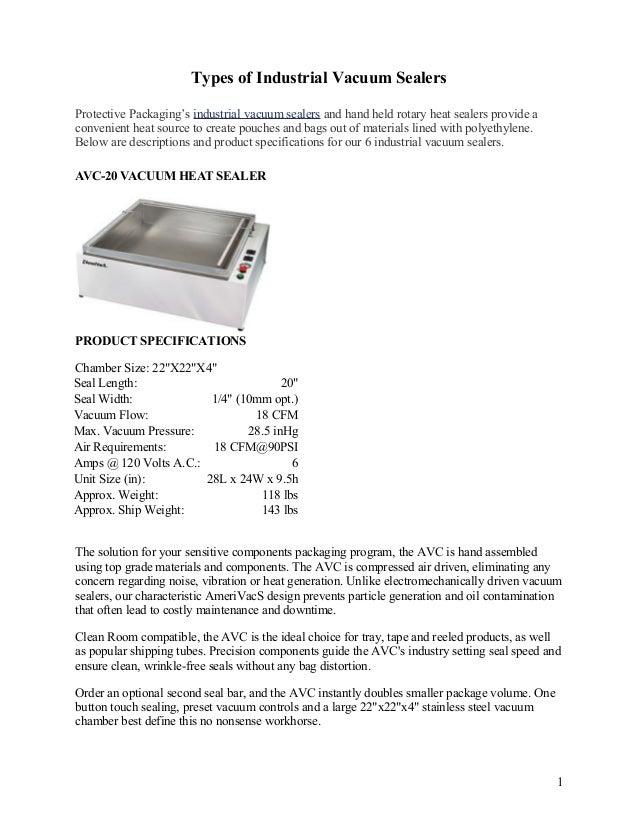 Types of Industrial Vacuum Sealers