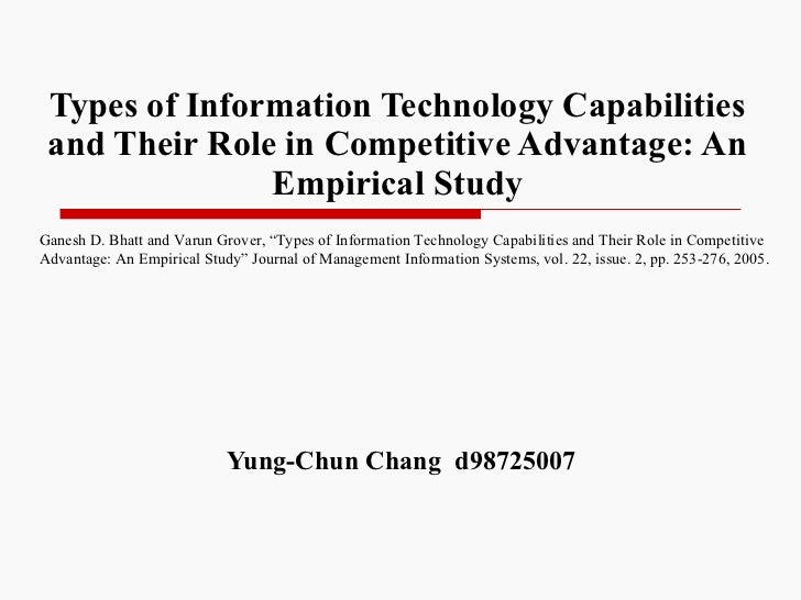 Types of Information Technology Capabilities and Their Role in Competitive Advantage: An Empirical Study