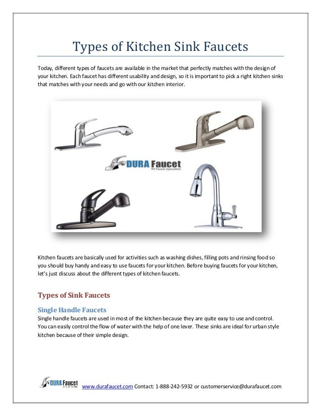 types of kitchen sink faucets
