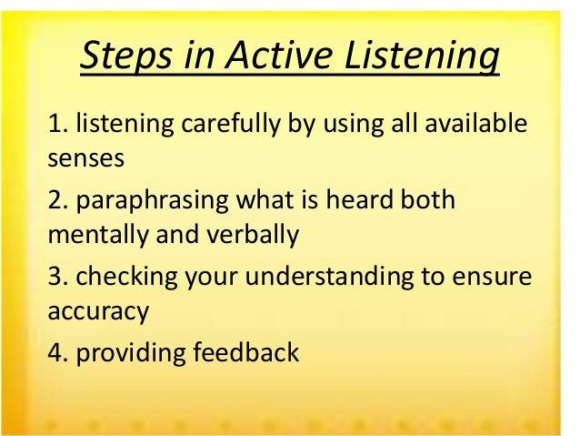 active listening in 4 steps essay Active listening essay may 7, 2008 active listening is the teacher who is actively listening understands that this is a necessary step in resolving the issue.