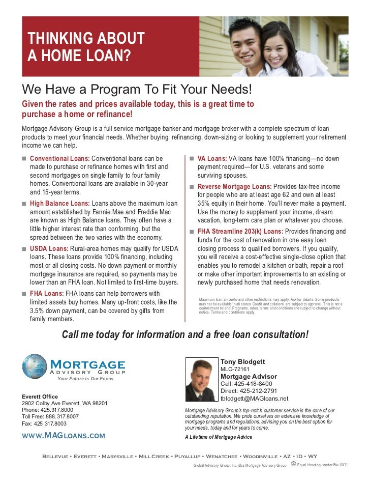 Types of loans flyer