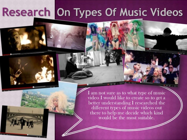 Research On Types Of Music Videos               I am not sure as to what type of music               video I would like to...