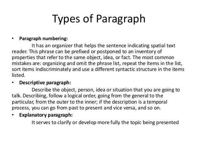 paragraph with spatial order The link between clear, logical organization and effective communication is powerful, both for the sender and the receiver for the writer, a well organized outline of information serves as a blue print for action it provides focus and direction as the writer composes the document, which helps.