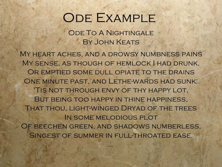 """ode to a nightingale and ode John keats' poem """"ode to a nightingale"""" introduces the reader to a dreamer who  responds to a singing nightingale his use of precise language allows him to."""