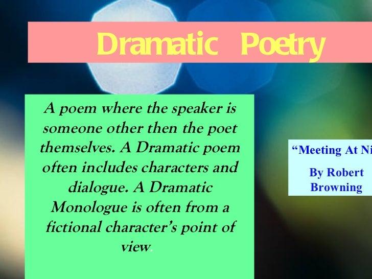 essay dramatic poetry