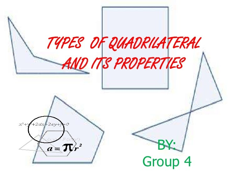 TYPES OF QUADRILATERAL  AND ITS PROPERTIES               BY:             Group 4