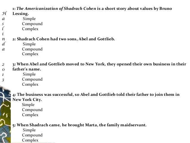 americanization shadrach cohen essay