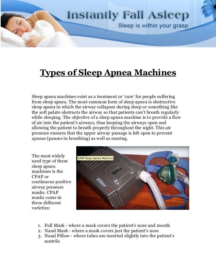 Types of Sleep Apnea Machines