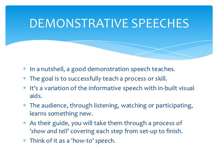 demostrative essay Free essay: demonstration speech they say a picture is worth a thousand words and can tell a thousand tales just what exactly is this saying (visual of a.