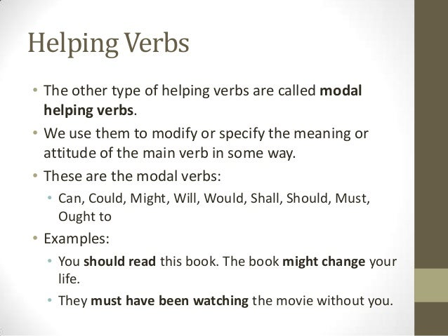 Types of Verbs – Main and Helping Verbs Worksheet