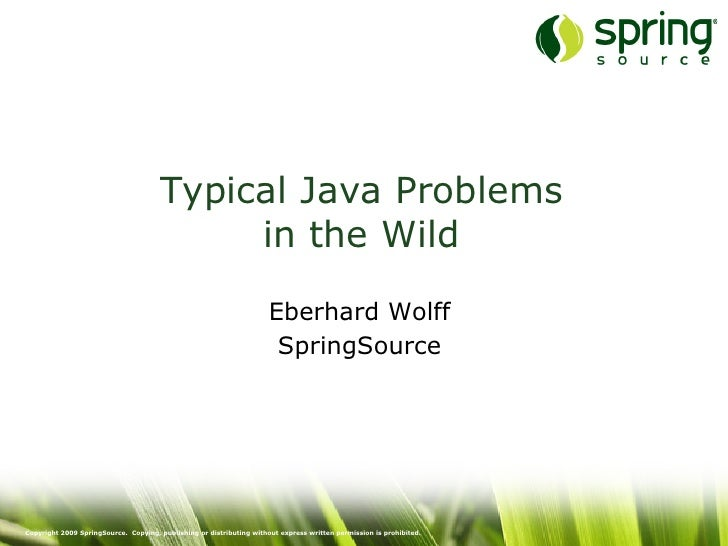 Typical Java Problems                                           in the Wild                                               ...
