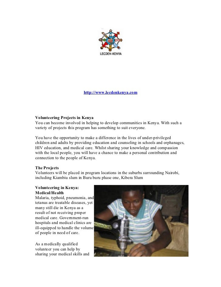 http://www.lecdenkenya.comVolunteering Projects in KenyaYou can become involved in helping to develop communities in Kenya...