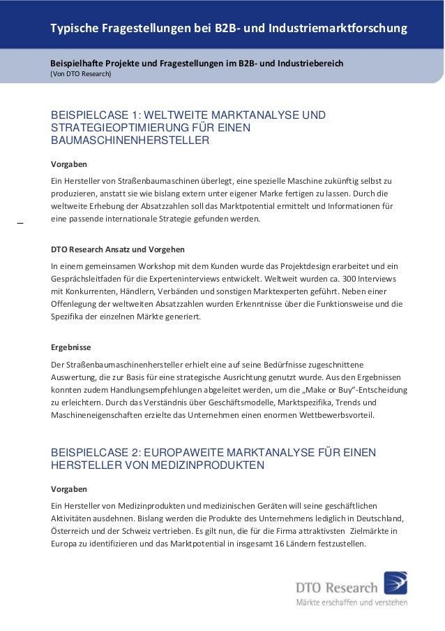 Typische Fragestellungen bei B2B- und Industriemarktforschung Beispielhafte Projekte und Fragestellungen im B2B- und Indus...
