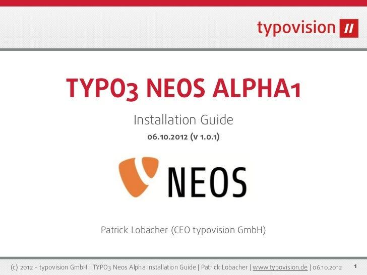 TYPO3 Neos Alpha 1 Installation Guide