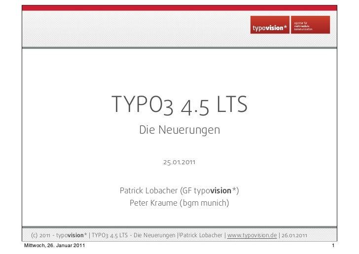 TYPO3 4.5 LTS - Die Neuerungen auf einen Blick