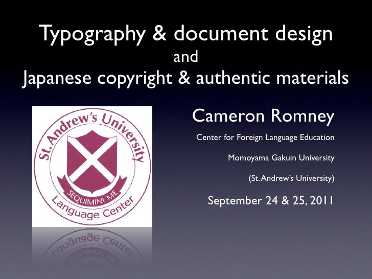 Typography & document design                  andJapanese copyright & authentic materials                    Cameron Romne...