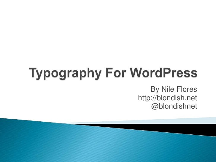 Typography for WordPress