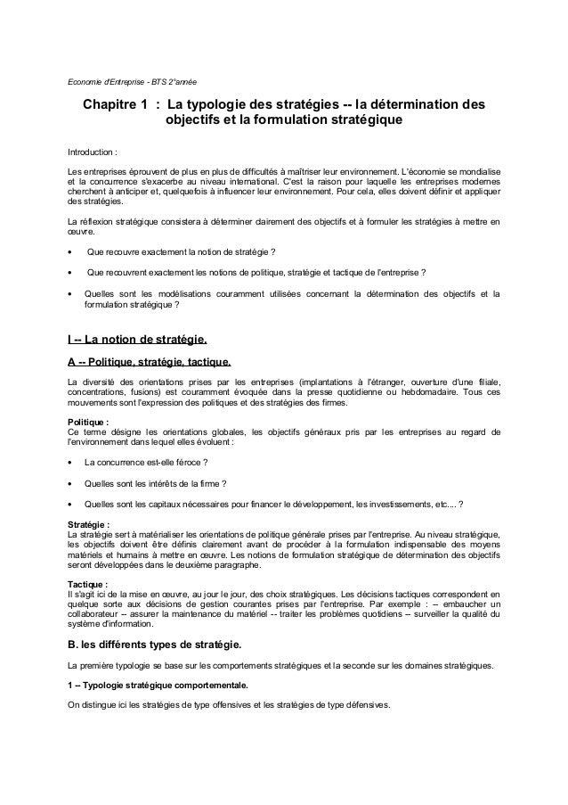 Economie d'Entreprise - BTS 2°année Chapitre 1 : La typologie des stratégies -- la détermination des objectifs et la formu...