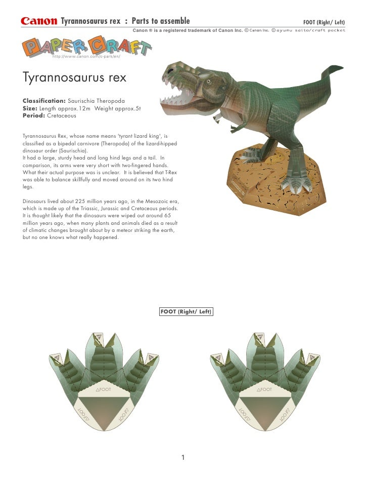 Tyrannosaurus rex : Parts to assemble                                                               FOOT (Right/ Left)    ...