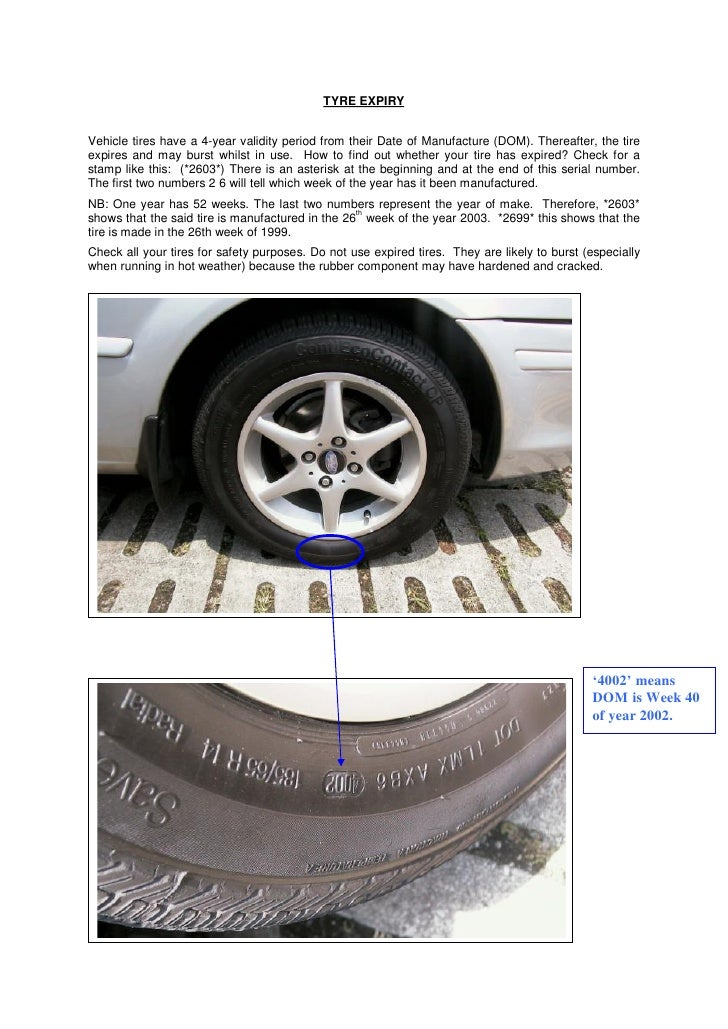 TYRE EXPIRY   Vehicle tires have a 4-year validity period from their Date of Manufacture (DOM). Thereafter, the tire expir...
