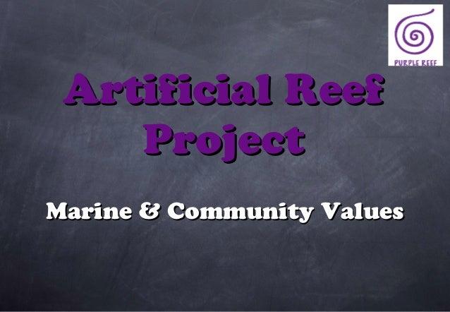 Artificial Reef    ProjectMarine & Community Values