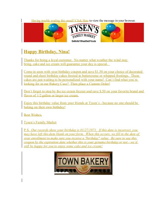 Email Campaign:  Birthday Offer