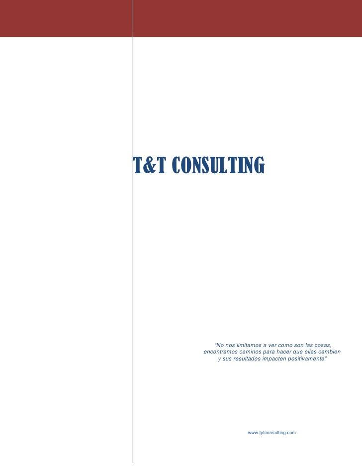 """T&T CONSULTING               """"No nos limitamos a ver como son las cosas,        encontramos caminos para hacer que ellas c..."""