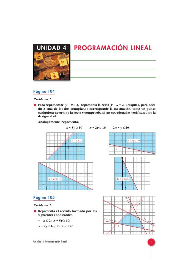 UNIDAD 4 PROGRAMACIÓN LINEAL  Página 104  Problema 1  Para representar y – x ≤ 2, representa la recta y – x = 2. Después, ...