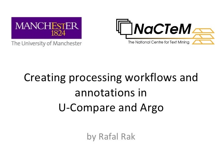 Creating workflows and annotations in U-Compare and Argo