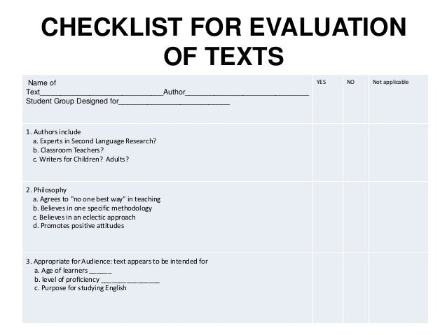 Textbook Evaluation Checklist