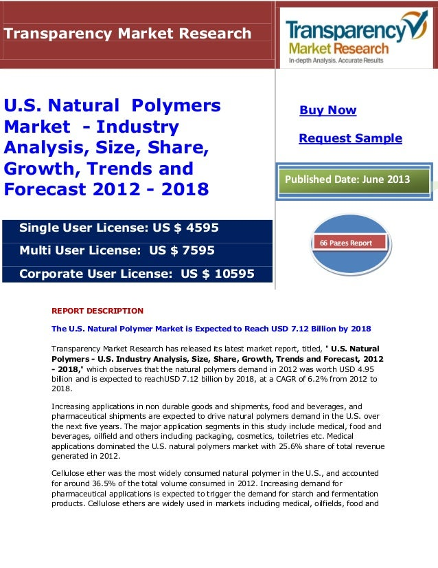 REPORT DESCRIPTION The U.S. Natural Polymer Market is Expected to Reach USD 7.12 Billion by 2018 Transparency Market Resea...