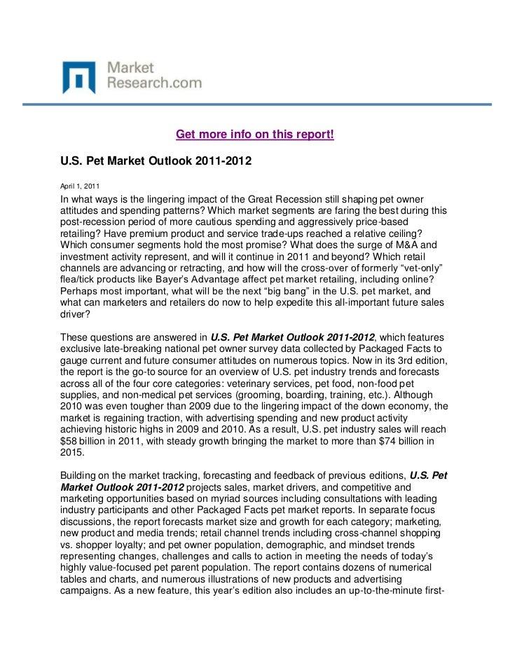 U.S. Pet Market Outlook 2011-2012