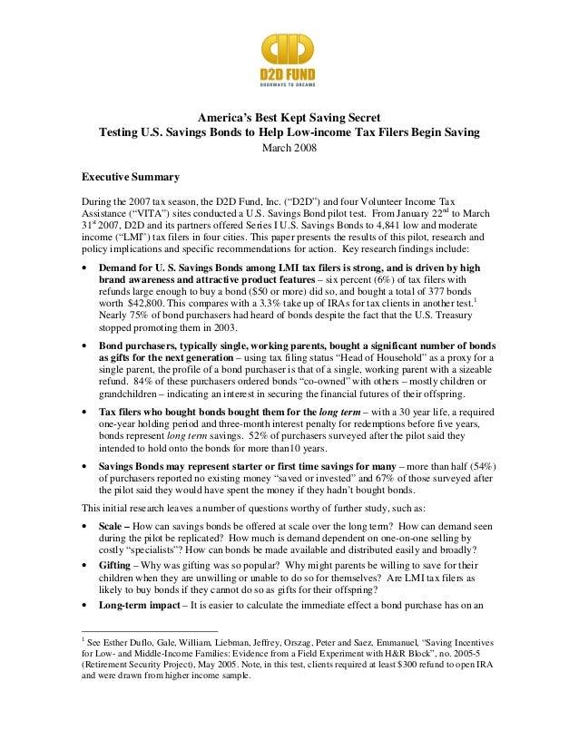 America's Best Kept Saving Secret Testing U.S. Savings Bonds to Help Low-income Tax Filers Begin Saving March 2008 Executi...