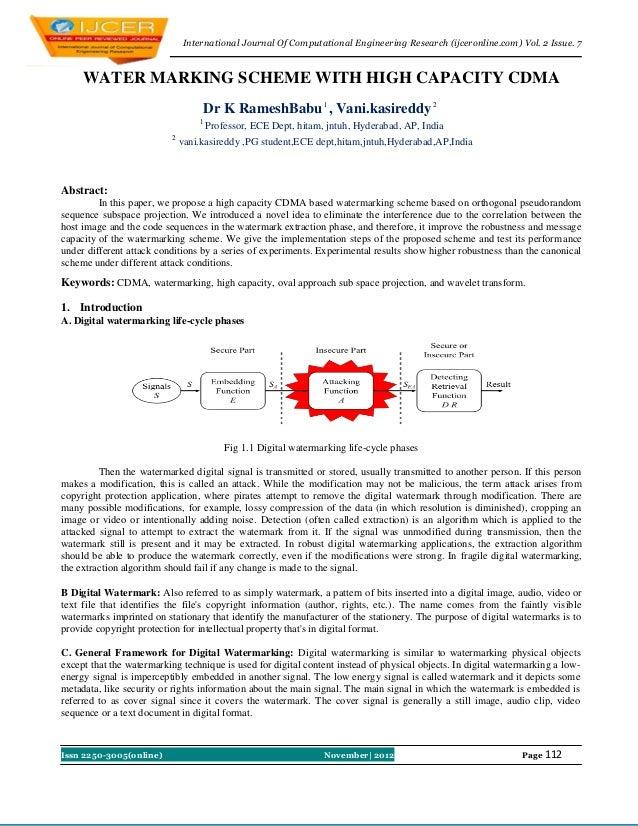 International Journal Of Computational Engineering Research (ijceronline.com) Vol. 2 Issue. 7     WATER MARKING SCHEME WIT...