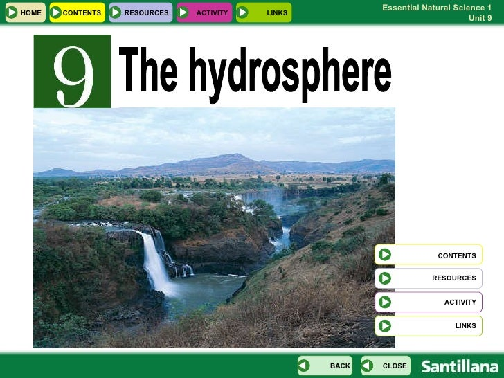 The hydrosphere  CONTENTS RESOURCES LINKS HOME RESOURCES CONTENTS CLOSE BACK ACTIVITY LINKS ACTIVITY