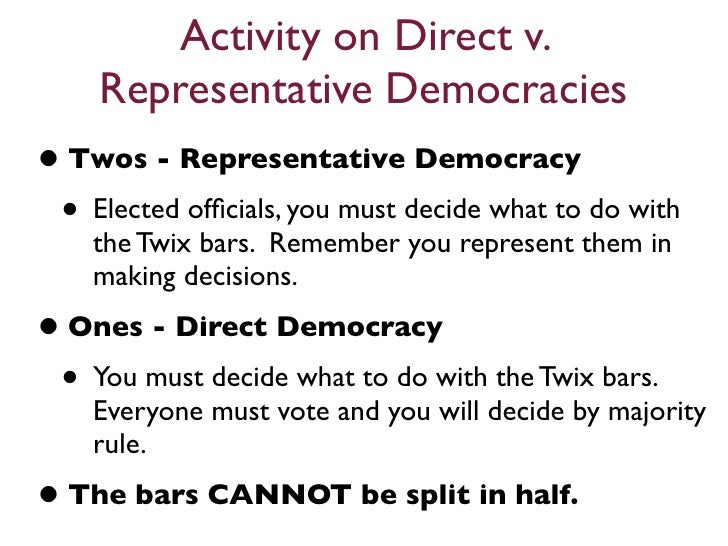direct democracy vs indirect democracy In a direct democracy,  most of the democracies are indirect or representative democracies,because citizens elect representatives who then go to the parliament.