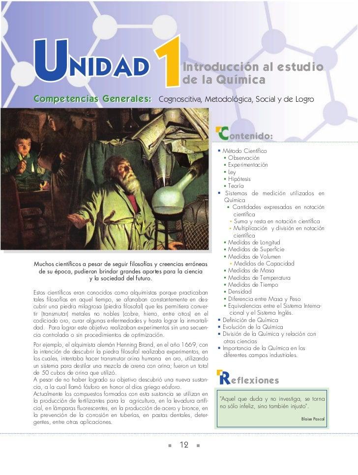 Introducción al estudio                                                               de la QuímicaCompetencias Generales:...