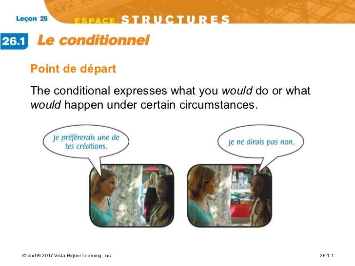 <ul><li>Point de d épart </li></ul><ul><li>The conditional expresses what you  would  do or what  would  happen under cert...