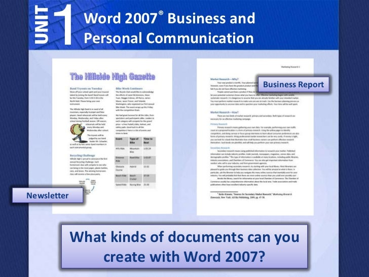 1         Word 2007® Business and              Personal Communication                                        Business Repo...