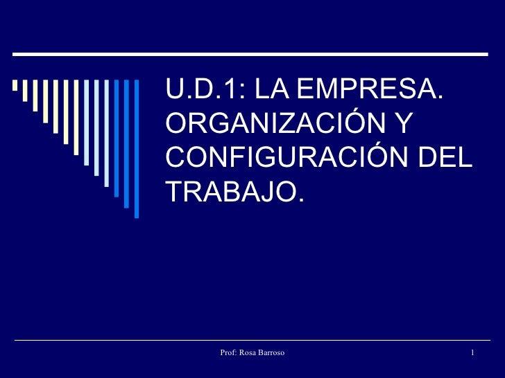 U.D.1: LA EMPRESA. ORGANIZACIÓN Y CONFIGURACIÓN DEL TRABAJO.
