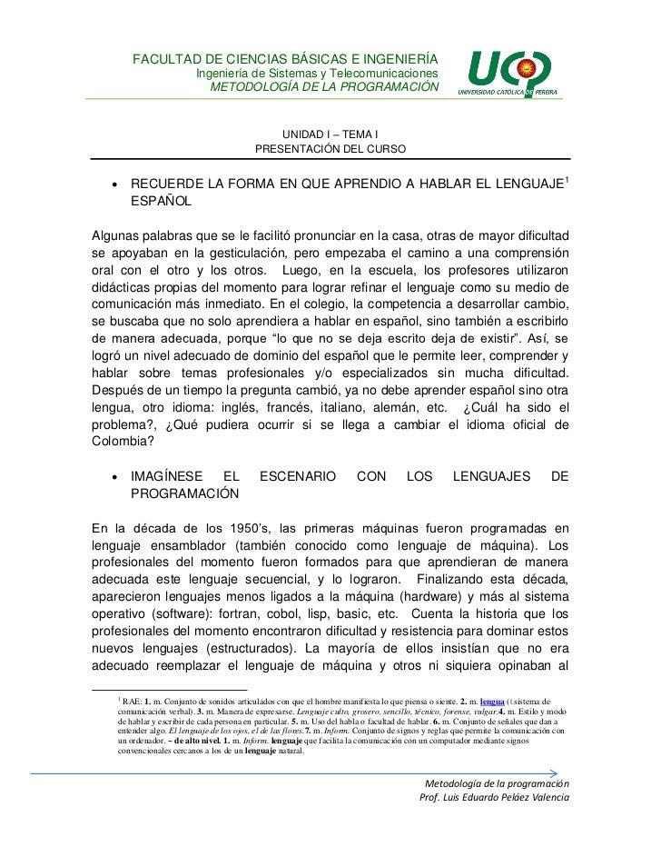 U1T1 - Presentación del curso de Metodología de la Programación IV