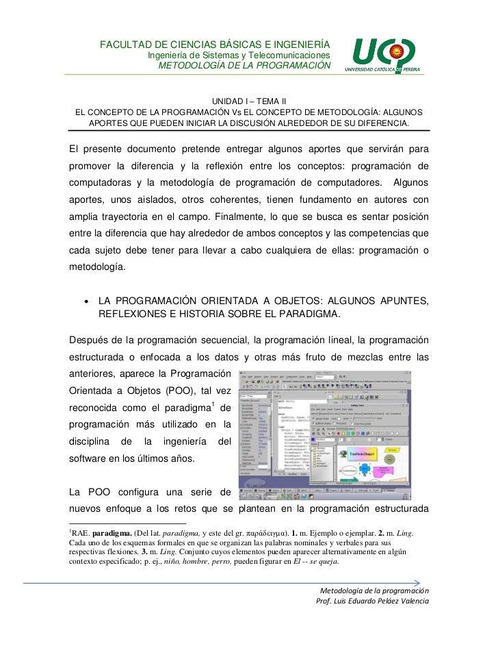 U1T2 - El concepto de la programación Vs el concepto de la MetodologíaU1 t2 el concepto de la programación y la metodología