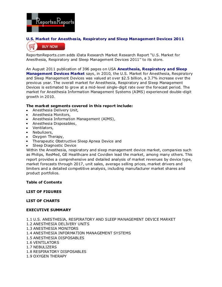 ReportsnReports – U.S. Market for Anesthesia, Respiratory and Sleep Management Devices 2011