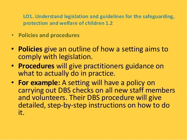 understand legislation policies and procedures for 11 analyse the differences between the concept of understand the legislation  understand the legislation, regulations and policies that underpin the.