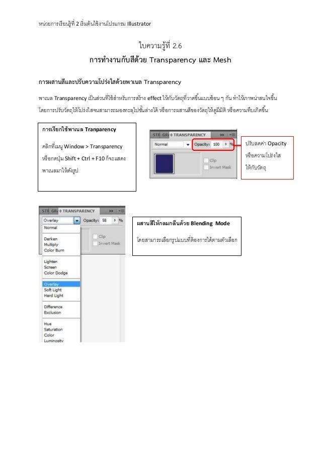 หน่วยการเรี ยนรู้ที่ 2 เริ่ มต้ นใช้ งานโปรแกรม Illustrator  ใบความรู้ที่ 2.6 การทางานกับสีด้วย Transparency และ Mesh การผ...